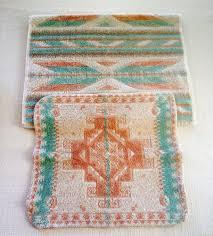 vintage southwestern fieldcrest hand towel wash cloth pastel aztec