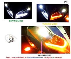 bicycle daytime running lights pr headlight neon led drl tube driving white turning yellow