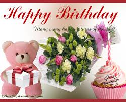 happy birthday greeting with bouquets of flowers and birthday cupcake