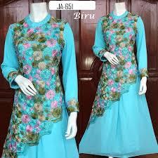 Baju Muslim Brokat busana muslim brokat biru ja 651 baju pesta busana muslim modern