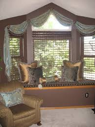 woven wood blinds with a scarf swag valance valances pinterest