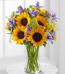 meant to shine sunflower u0026 iris bouquet no vase fk390 fresh cuts