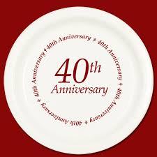 40th anniversary plates ruby anniversary party supplies 40th anniversary dessert plate 8pkg
