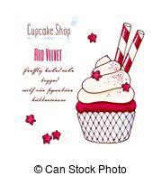 clip art vector of red velvet mini cake badge for cafe menu design