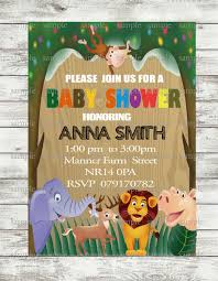 20 pcs jungle safari baby shower invitation animal birthday