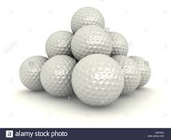 3d render of pile of golf balls over white background stock photo