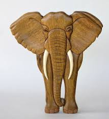elephant intarsia wall hanging wooden animal carving wood