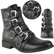 ladies ankle biker boots new womens ladies studded buckle ankle boots chelsea biker punk