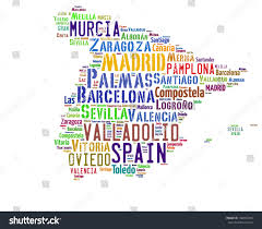 Mallorca Spain Map by Spain Map Words Cloud Major Cities Stock Illustration 104967326
