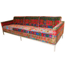 Outdoor Furniture Upholstery Fabric Sofa By Florence Knoll With Original Jack Lenor Larsen Fabric