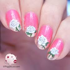 piggieluv freehand white roses nail art for valentine u0027s day