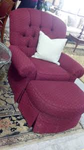 red maroon skirted reading chair and ottoman decor with white
