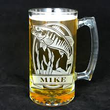 etched glass vase personalized 1 personalized fish beer stein etched glass smallmouth bass