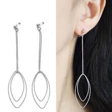 dangle clip on earrings silver hoop invisible clip on earrings from miyabigrace on etsy
