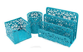 office desk organizer set easypag carved hollow flower pattern 3 in 1 office desk organizer