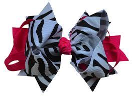 hair bow ribbon 5 inch shocking pink zebra ring hair bow clothing