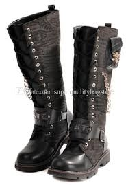 s boots with buckles s shoes knee high boots metal skull chains buckles pu