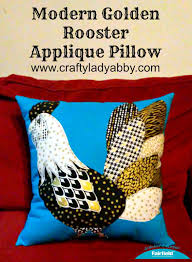 home decor diy modern golden rooster applique pillow