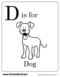 d is for dog letter d coloring page pdf