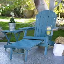 blue stain wood adirondack chair with pull out ottoman and built