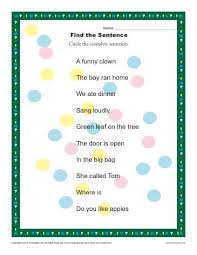 find the sentence 1st and 2nd grade sentence worksheets