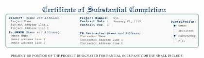 certificate of substantial completion aia g704 style
