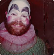 old vintage photograph halloween costume man with creepy clown
