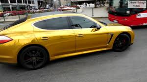 porsche gold gold and black color porsche panamera 4 sound and acceleration