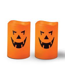 halloween jack o u0027lantern pumpkin face led resin flameless candles