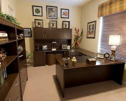 U Shaped Home Office Desk Magnificent Design Ideas Using Brown Valance And U Shaped Brown