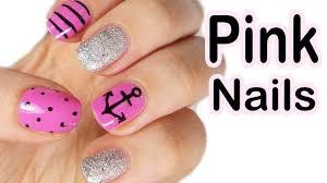 pink nautical nail art facile estate youtube
