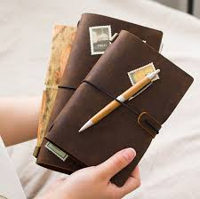 travel notebook images Vintage genuine leather traveler 39 s notebook diary journal handmade jpg
