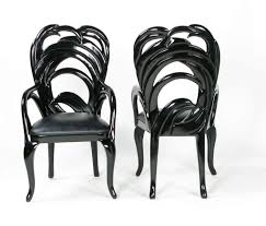 ten phyllis morris black lacquer and leather dining chairs at 1stdibs