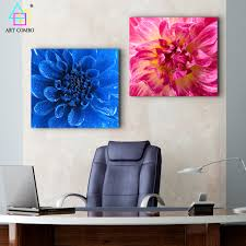 Pink Home Decor Fabric Modern Canvas Painting Blue And Pink Blooming Flower Wall Art