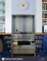 modern kitchen stoves close up of stainless steel range oven set into alcove in modern