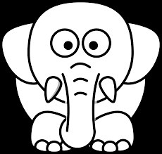 lemmling cartoon elephant black white line art coloring book