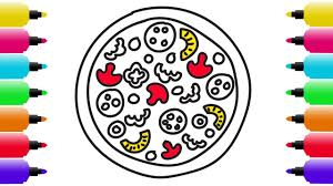 how to draw pizza coloring pages for kids learning drawing and