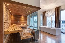 house luxury design for sauna room in modern bathroom decorating