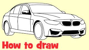 cars drawings how to draw a car bmw m3 sedan step by step drawing youtube