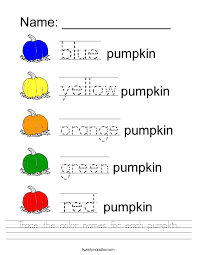 trace the color names for each pumpkin worksheet twisty noodle
