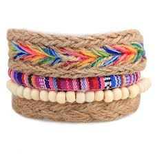 diy woven bracelet images Rainbow bracelet men women woven hemp bracelets bangles diy jpg