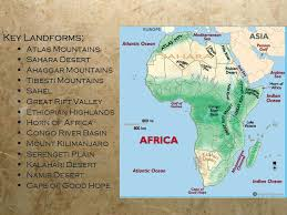 africa map landforms geography of africa ppt