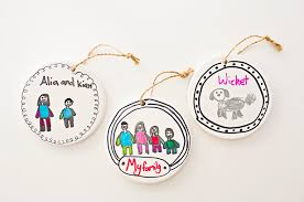 hello wonderful kid made family portrait ornaments