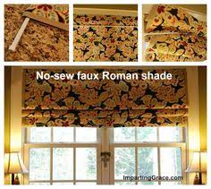 Tension Rods For Windows Ideas Faux Roman Shade 3 Tension Rods And Some Fabric So Easy And
