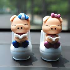 novelty creative christmas gift cute toilet pig solar power doll
