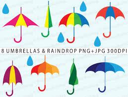 Clip Umbrella April Showers Clipart Cheerful Umbrella Clipart Set Rain