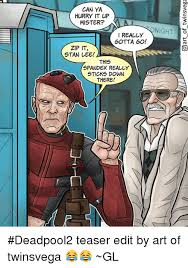 Spandex Meme - can ya hurry it up mister really gotta go zip it stan lee this