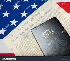 Flag With Bible Black Bible Declaration Independence Ensign Usa Stock Photo