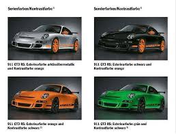 porsche gt3 colors porsche 911 997 gt3 rs registry colors