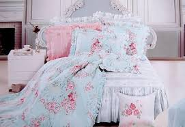 shabby and elegant new blue cotton 4pc bedding duvet cover set